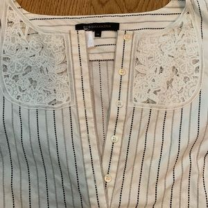 BCBG women's striped blouse with lace detail